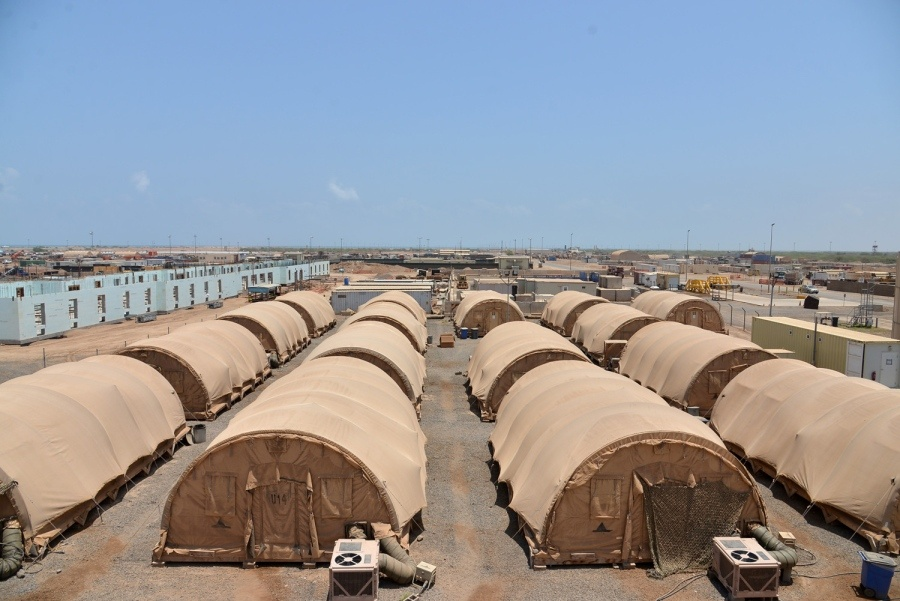 Large-lot-of-temporary-military-structures